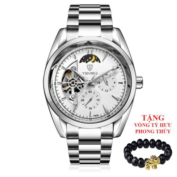 Nơi bán [HCM]Đồng hồ nam Tevise 795A máy cơ chạy full kim (M Mặt trắng dây inox) + Tặng vòng tỳ hưu