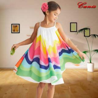 Đầm Không Tay Cầu Vồng Mùa Hè Cho Bé Gái 1-6T, Dây Đeo Đi Biển Dự Tiệc Đầm Rộng Nhiều Màu Sắc, Quần Áo Váy Xòe