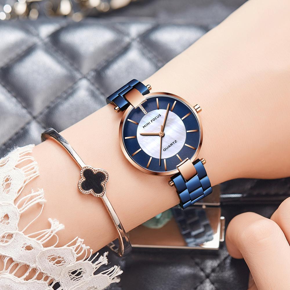 iWATCH - Đồng hồ nữ MINI FOCUS dây thép đúc mặt khảm đá hoa cao cấp IW-MF224 bán chạy