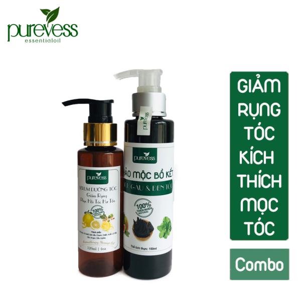 Combo serum dưỡng tóc và thảo mộc bồ kết Purevess giúp sạch gàu, bóng mượt, giảm rụng tóc, giúp mọc tóc.