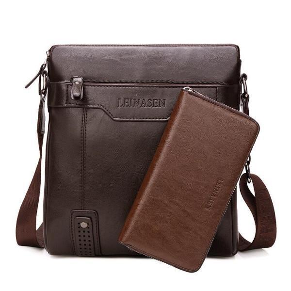 Túi đeo chéo nam LEINASEN túi đựng ipad tặng ví dài 29x25x8cm (Nâu đậm-Nâu sáng-Đen)