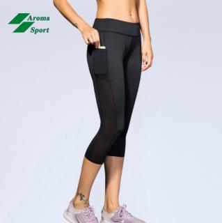 Quần tập yoga, gym, thể thao nữ lửng phối lưới hàng cao cấp - A12 thumbnail
