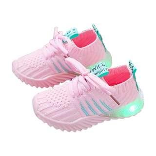 Giày lưới chống trơn trượt dệt kim mềm mại cho bé trai bé gái 1-5 tuổi có ánh sáng nhấp nháy - INTL