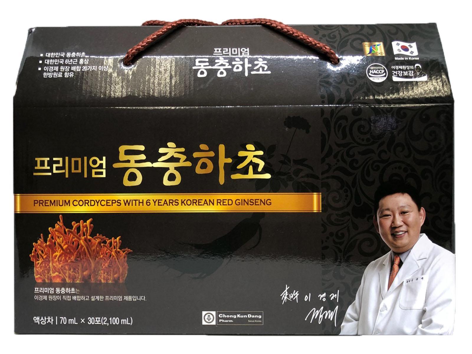 Chiết xuất Đông trùng và Hồng sâm Hàn Quốc 6 năm tuổi Chong Kun Dang 70ml x 30 gói nhập khẩu