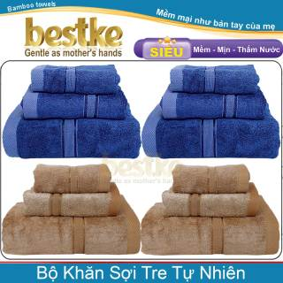 [HCM]Combo 4 Bộ 12 khăn sợi tre tự nhiên bestke màu dark blue và cafe KT_120x60+75x35+50x30cm TL 540g bộ bamboo towels thumbnail