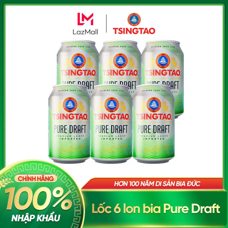 [11.11] Lốc 6 lon bia Tsingtao Pure Draft - Độ cồn 4.3% - Nhập khấu chính hãng 100%