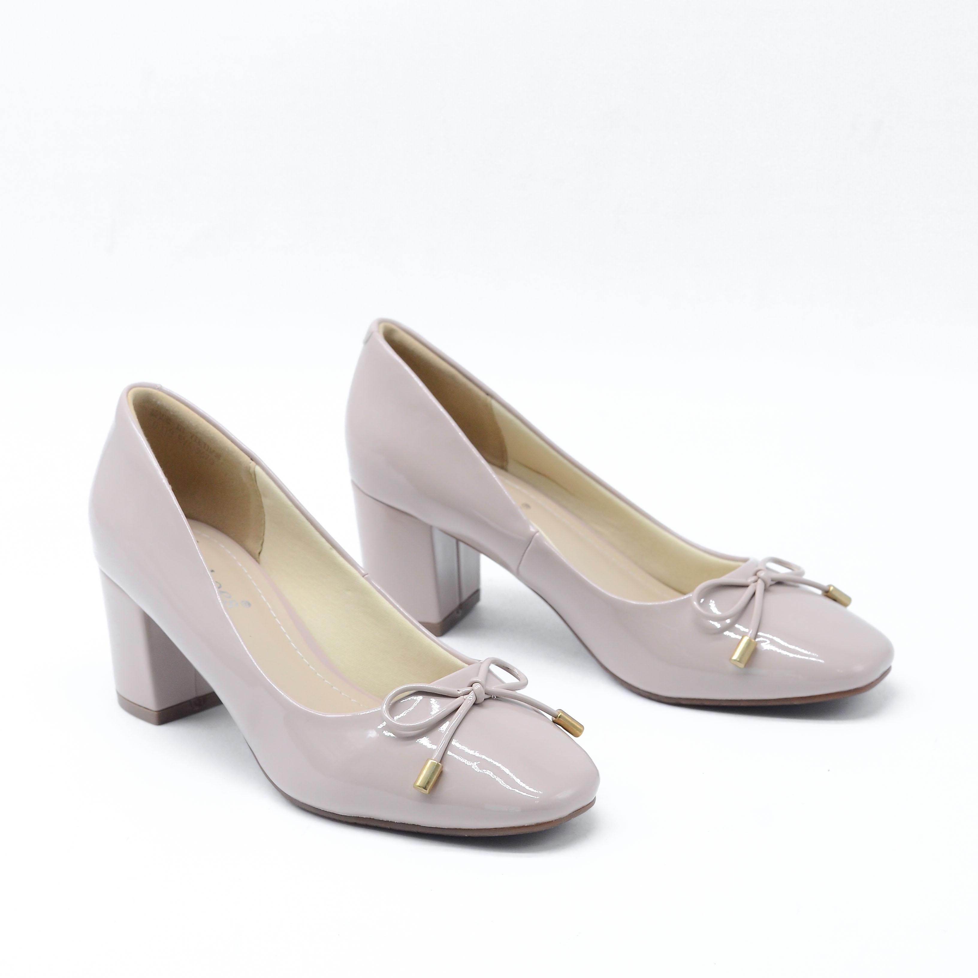 Giày Cao Gót Da Bóng Mũi Vuông Phối Nơ 6cm Evashoes - Eva9670(Màu Đen, Kem)