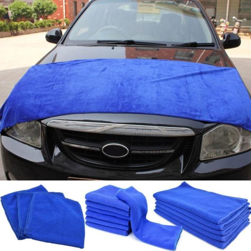 Bộ 10 khăn Microfiber chuyên dùng lau xe ô tô kích thước 30cm x 70cm (Xanh)
