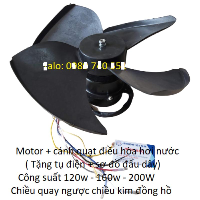 Bộ động cơ và cánh quạt điều hòa hơi nước tặng kèm tụ điện và sơ đồ đấu