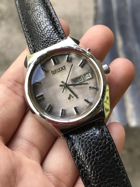 Đồng hồ cơ nam Orient automatic có lịch, dây da màu đen
