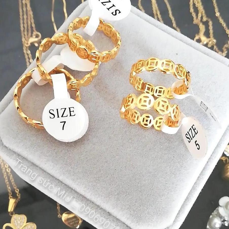 Nhẫn Vàng 18k thời trang nam, nữ - Nhẫn kim tiền VN28031909 - đeo đi tiệc đi chơi làm công sở cực sang chảnh và quý phái
