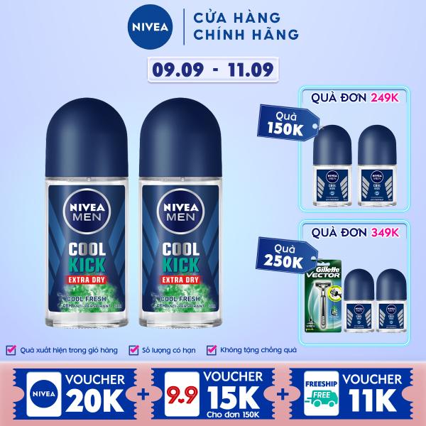 Combo 2 Lăn ngăn mùi NIVEA MEN Cool Kick Mát Lạnh - Thơm sảng khoái (50ml) - 83188 giá rẻ