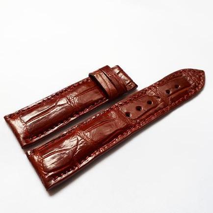 Nơi bán Dây đồng hồ da Cá sấu cao cấp 2 mặt (size 18mm) CS2M (Nâu đỏ)