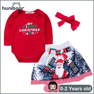 3Pcs Bé Gái Quần Áo Set Giáng Sinh Quần Áo Trẻ Con Và Santa Váy Với Headband Bộ Quần Áo Jumpsuit Bodysuit Set Cho Các Cô Gái 0-2 Năm