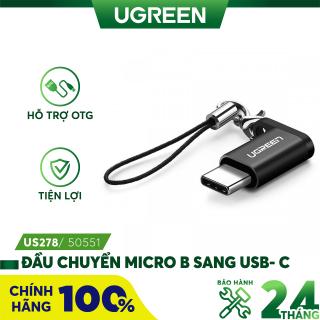 Đầu chuyển đổi Micro USB sang USB type C có hỗ trợ OTG dùng cho điện thoại di động Android UGREEN US278 50551 - Hãng phân phối chính thức thumbnail