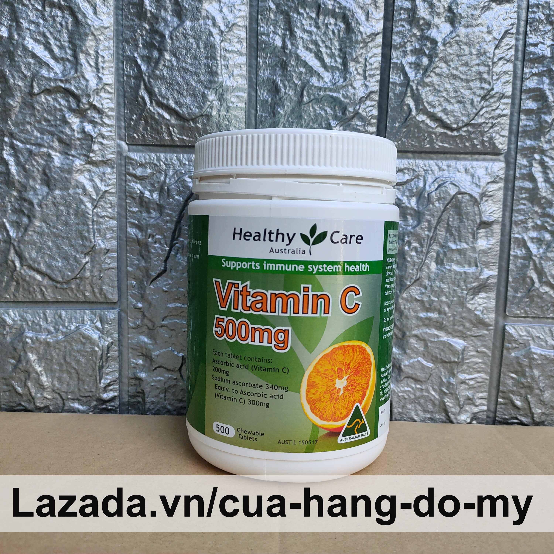 Viên Ngậm Nhai Mềm Bổ Sung Vitamin C Healthy Care 500mg hộp 500 viên Của Úc cao cấp