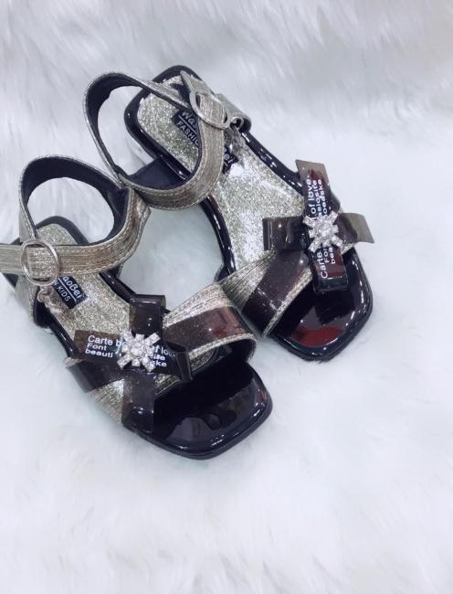 [SenXanh] Giày sandal nhũ mịn đính nơ cho bé gái giá rẻ
