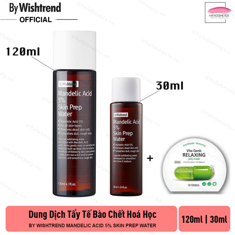 Dung dịch tẩy tế bào chết hoá học By Wishtrend Mandelic Acid 5% Skin Prep Water + Tăng Kèm 1 Mặt Nạ BNBG Loại Ngẫu Nhiên