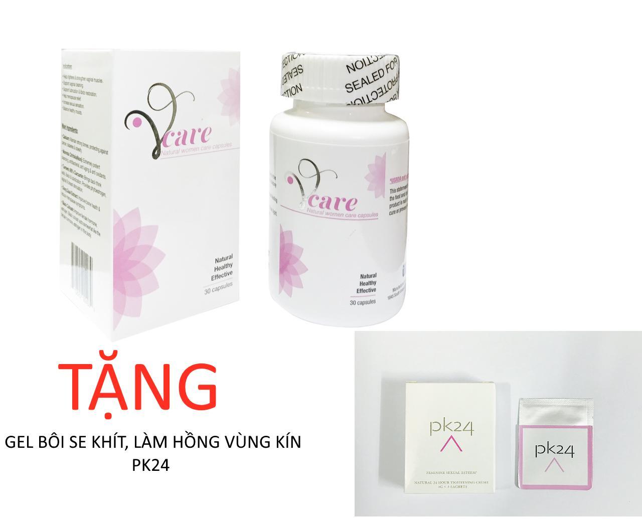 Viên uống sinh lý nữ Vcare Mỹ TẶNG Gel bôi se khít làm hồng vùng kín PK24