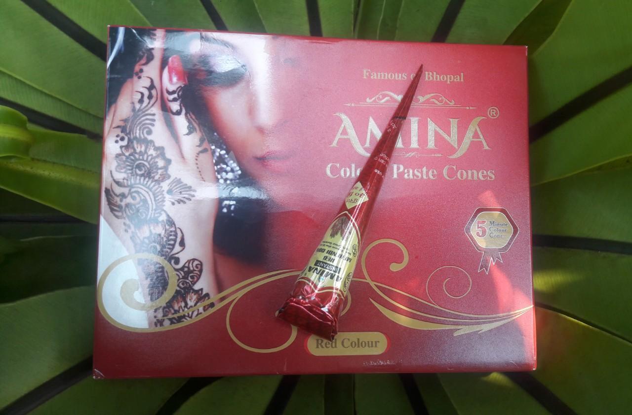 Mực henna Amina xách tay từ Ấn Độ (màu đỏ) - 25g