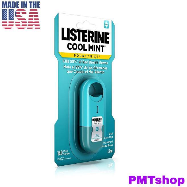 [USA] Xịt Thơm Miệng bỏ túi Listerine 7.7ml Cool Mint 140 lần xịt - Mỹ nhập khẩu
