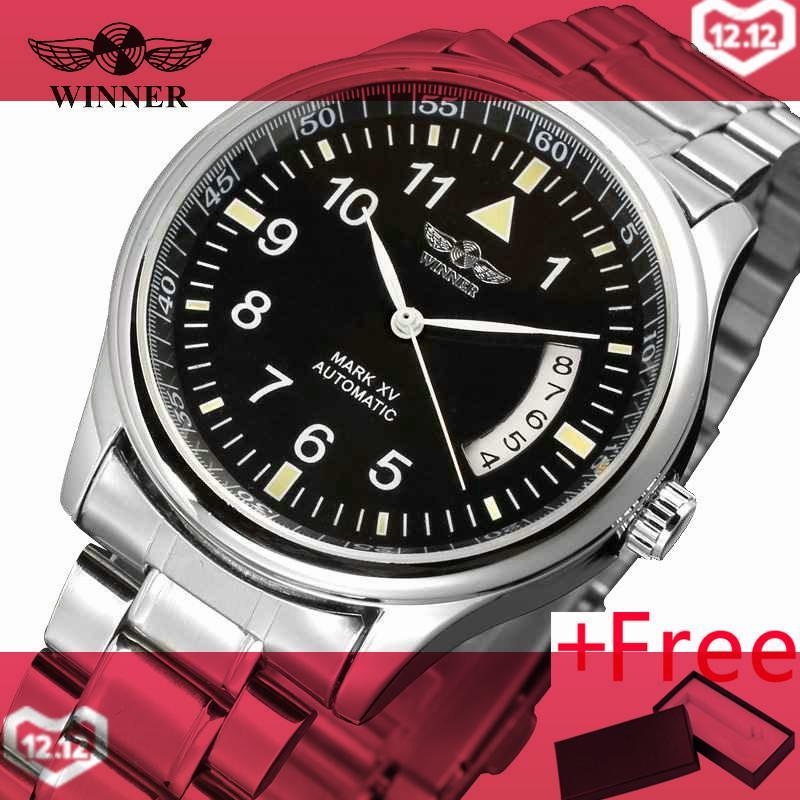 WINNER 452G 2017 New WINNER Men Auto Mechanical Watch Stainless Steel Strap Calendar Date Black Wristwatch Fashion Relojes Hombre - intl bán chạy