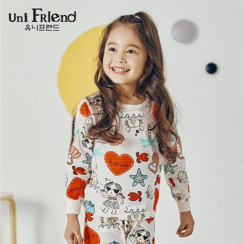 Nơi bán Đồ bộ mặc nhà bé gái Unifriend thun dài họa tiết đáng yêu U9SSTD05