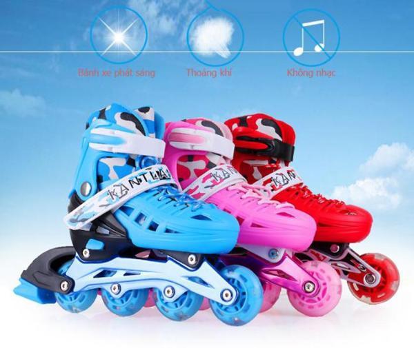 Giá bán Dạy trượt patin cơ bản, Mua giay batin, Giày Patin trẻ em tặng mũ và đồ bảo hộ (5 đến 14 tuổi) với bánh xe có tính đàn hồi cao, chống trầy xước, chống xé rách, chịu mài mòn va đập tốt - BẢO HÀNH UY TÍN