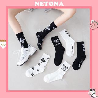 Tất Vớ Cotton Họa Tiết Hình Bướm Thời Trang Cho Nam Nữ NE38 thumbnail