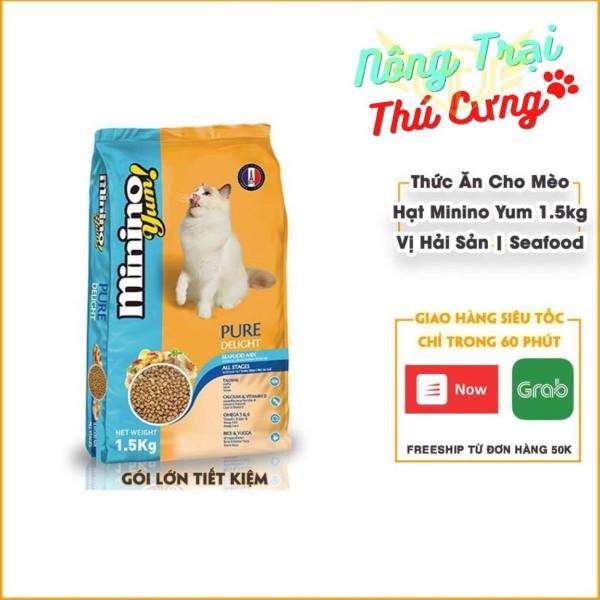 [HCM]Thức ăn cho mèo mọi lứa tuổi - Minino Yum Vị Hải Sản 1.5kg | Hạt Mèo Minino Yum Hải Sản