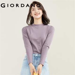 GIORDANO Women T-Shirts Mockeneck Smooth Soft Solid Color T-Shirts Multi-Color Optional Long Sleeves Loose Stripe Tee 05321803 thumbnail