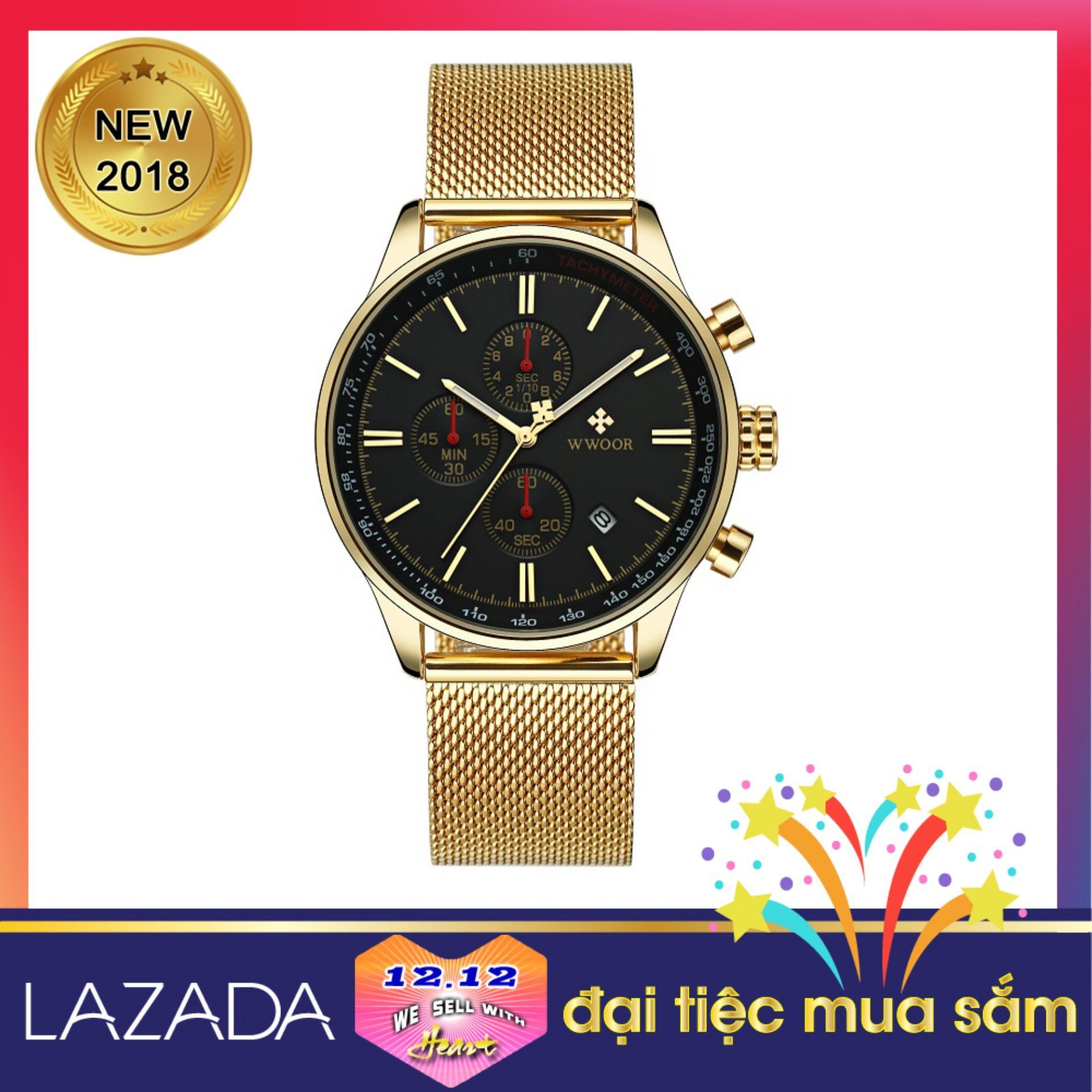 Đồng hồ đeo tay nam đẹp và sang WWOOR 8862, tặng Pin đồng hồ SONY 920 Japan Nhật Bản