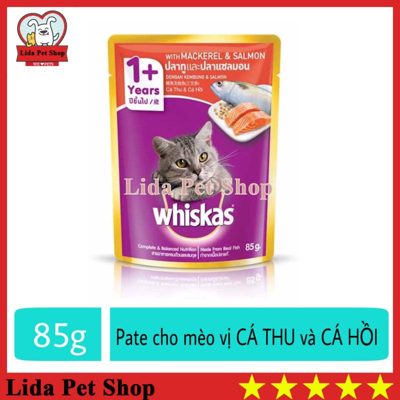 [Lấy mã giảm thêm 30%]HN- Thức ăn ướt pate / xốt Whiskas hương vị Cá Thu và Cá Hồi dành cho mèo lớn - Gói 85g - Lida Pet Shop