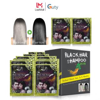 Combo 5-10 Gói Dầu Gội Nhuộm Đen Tóc Thảo Dược Black Hair Shampoo Hàn Quốc, An Toàn Cho Da, Không Độc Hại, Đen Ngay Sau Lần Sử Dụng, Dầu Gội Đen Tóc Tốt Nhất Hiện Tại - Guty Smart thumbnail
