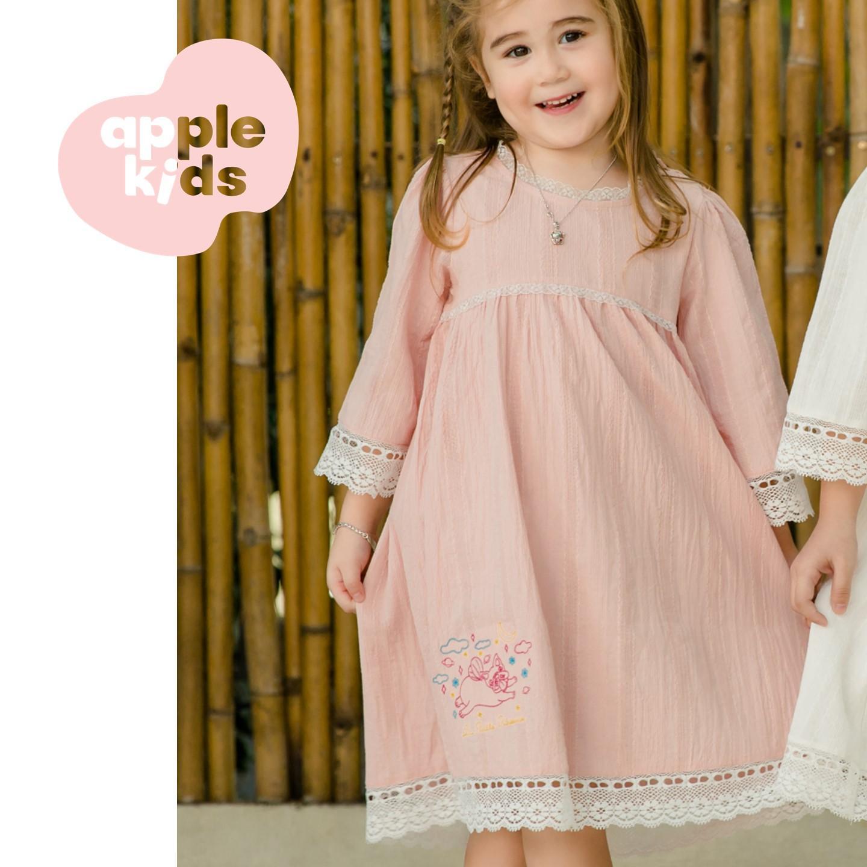 Giá bán Đầm công chúa 02 cho bé gái mặc nhà, chất liệu Kate mềm thêu dệt