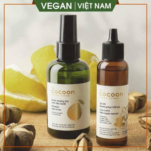 [ COMBO TIẾT KIỆM ] Combo Sa-chi serum phục hồi tóc hư tổn nặng 70ml và nước dưỡng tóc tinh dầu bưởi giúp mọc tóc, ngăn rụng tóc cocoon viet nam 140ml giá rẻ