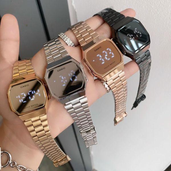 Đồng hồ nam, nữ Casio A168 Tráng gương LED cảm ứng cao cấp, dây thép sang trọng cho giới trẻ bán chạy