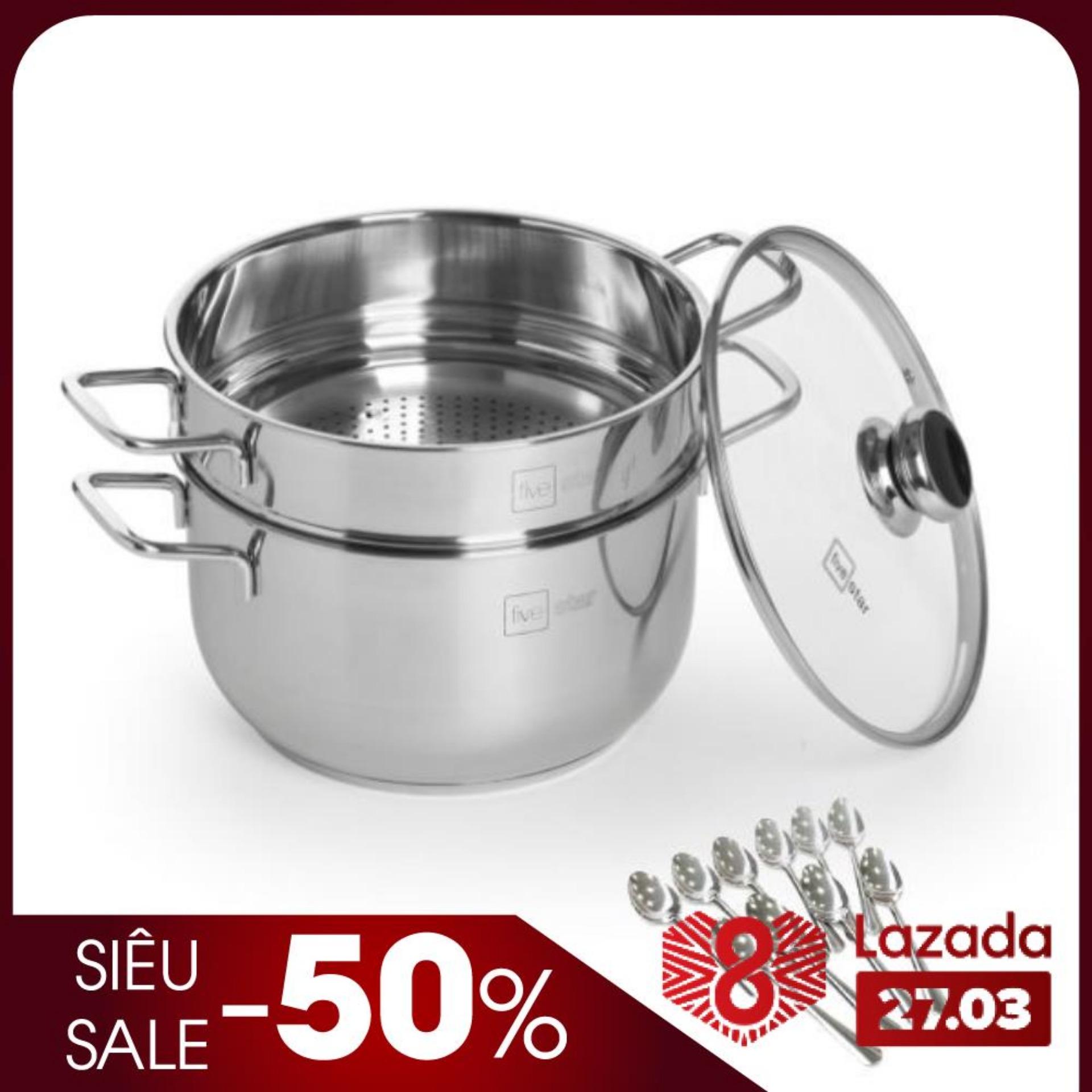 Bộ xửng hấp 3 đáy inox 430 FiveStar Standard  bếp từ nắp kính tặng 5 muỗng ( 24cm /26cm / 28cm / 30cm )