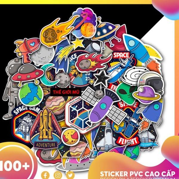 Sticker phi hành gia dán mũ bảo hiểm, vali, laptop, điện thoại PVC chống nước