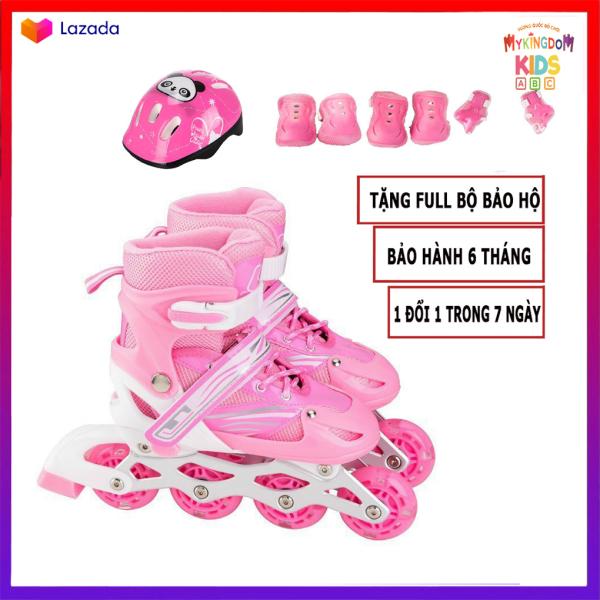 Mua Giày Patin trẻ em tặng kèm bảo hộ chân tay và Mũ , bánh xe phát sáng đi vừa với bé trai và gái từ 3-14 tuổi, có 3 màu Đỏ, Hồng, Xanh Đồ chơi tăng cường thể chất cho bé