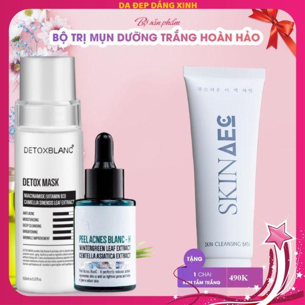 Bộ đôi trị mụn thâm Detox BlanC tặng sữa tắm trắng hàng ngày skin aec 300ml