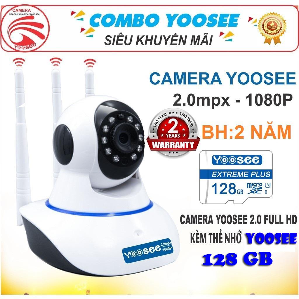 (KÈM Thẻ Nhớ SD YOOSEE 128 GB, BẢO HÀNH 24 THÁNG)Camera IP Wifi Yoosee 3 Râu xoay 360 độ, độ phân giải FULL HD 2.0MP 1920x1080p Không Dây,Camera trong nhà,ngoài trời Camera hồng ngoại tích hợp ghi âm,lưu trữ dữ liệu
