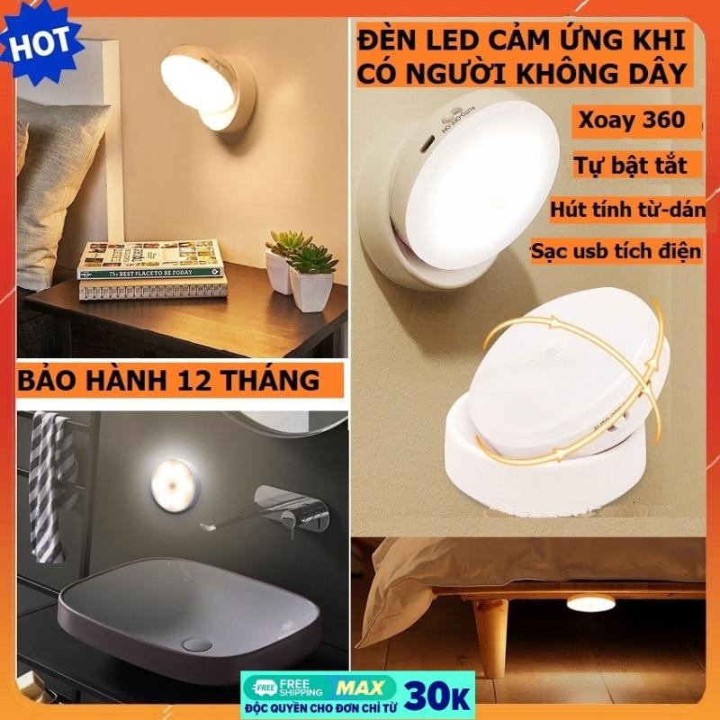 Đèn cảm ứng khi có người, đèn led cảm ứng không dây sạc tích điện usb, tự động bật tắt đế nam châm xoay 360 độ công suất 0.7W, đèn cảm ứng ban đêm, đèn cảm ứng gắn tường cho tủ, cầu thang, phòng ngủ, bếp, nhà vệ sinh