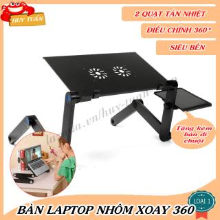 Bàn Laptop Nhôm Xoay 360 Độ Huy Tuấn Có Quạt Tản Nhiệt- Tặng Kèm Đế Di Chuột thumbnail