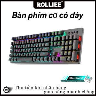 KOLLIEE Bàn phím cơ thật 100F Bàn phím cơ có dây kết hợp đèn nền Bàn phím chơi game 104 phím Bàn phím chống xung đột Có thể điều chỉnh đèn LED cho PC Office Home thumbnail