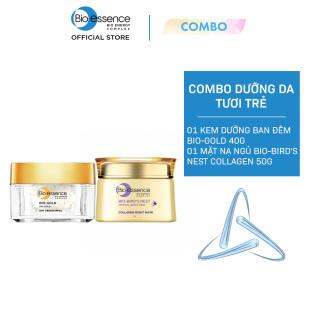 Combo dưỡng da tươi trẻ ngăn ngừa lão hóa Bio-Essence ( Kem dưỡng ban đêm Bio-Gold 40g + Mặt nạ ngủ Bio-Bird s Nest Collagen 50g) thumbnail