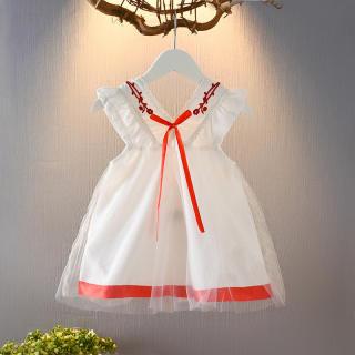 Váy Bé Gái Mùa Hè Đầm Có Dây Đeo Cho Trẻ Em Váy Công Chúa Hàn Quốc Hở Lưng Cotton Mới Cho Bé Gái Váy Lưới Thêu Cổ Chữ V Cho Bé 1 2 3 4 5 Tuổi