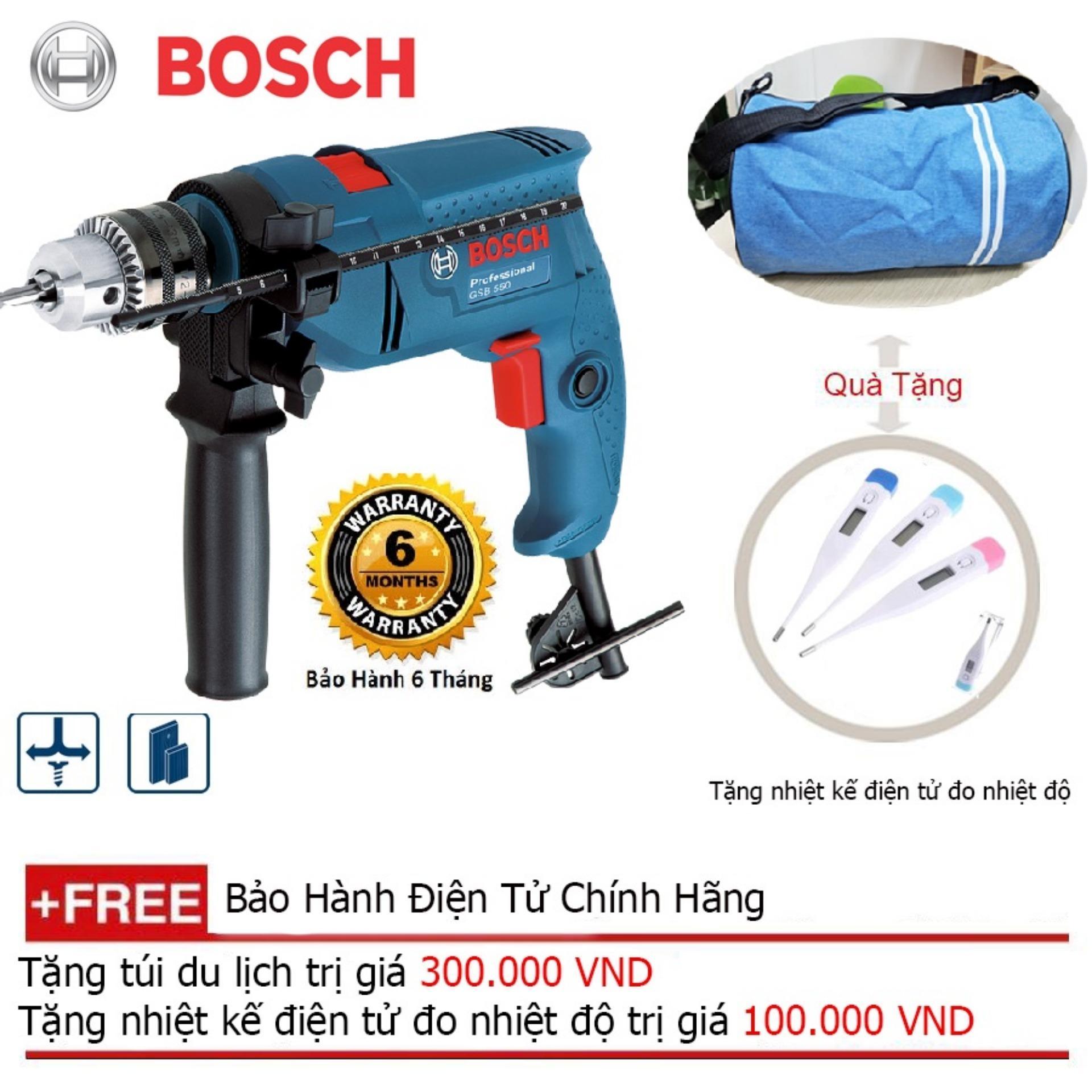 Bộ máy khoan động lực Bosch GSB 550 MP SET 19 chi tiết - Tặng áo thun Bosch