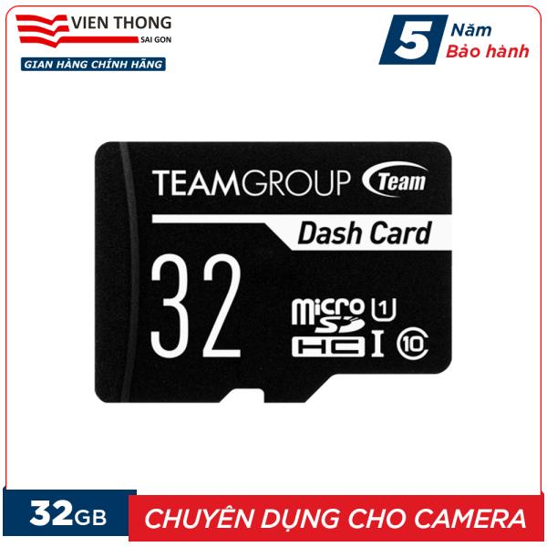 Thẻ nhớ 32GB micro SDHC Team Dash Card chuyên dụng cho Camera upto 80MB/s class 10 U1 (Đen) - Hãng phân phối chính thức