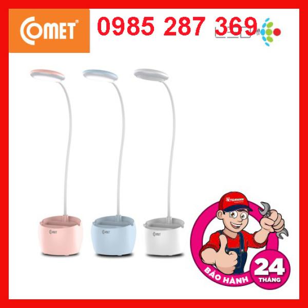 Đèn Bàn Sạc pin tích điện COMET chống cận LED có ngăn chứa dụng cụ, có khay để điện thoại phương ngang, CT177
